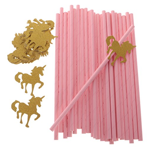 Sharplace 25x Pink Paper Straws with Gold Glitter Unicorn for Kids Birthday Carousel Parties
