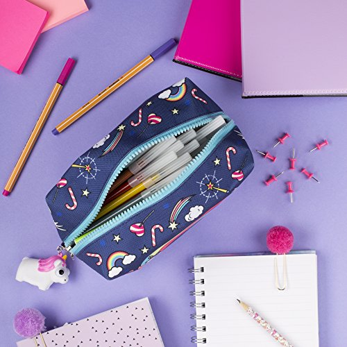 FRINGOO® Large Square Pencil Case Stationery Pouch With Eye Popper Zip Puller (Believe In Unicorns)