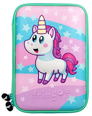 FRINGOO®Cute Unicorn Kids Large Pencil Case |Hardtop Embossed Cover | Multi-Compartment