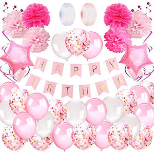 Birthday Decorations Girls Pink, Banner, Balloons, Pompoms, Tassels