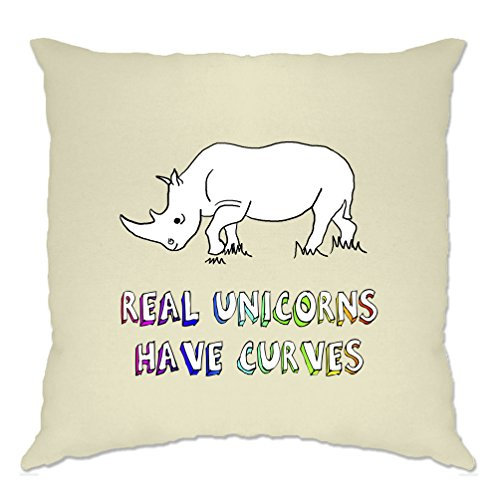 Real Unicorns Have Curves Rhino Printed Design Funny Mythical Logo Science Animal Joke Acceptance Slogan Instagram Teen Always Be Yourself Cushion Cover Sofa Home Cool Birthday Gift Present