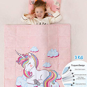 Kids Unicorn Fleece Weighted Blanket | 3 KG | 100 x 150 CM | Pink