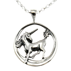"Sterling Silver Unicorn Pendant with 18"" Chain"