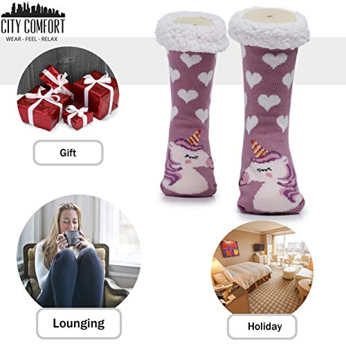 Fleece Unicorn Slipper Socks Women Girls Premium Soft