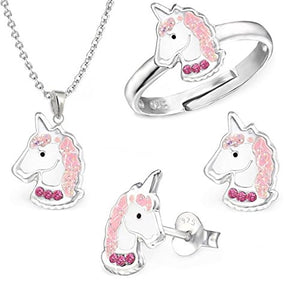 GH1 A Pink Crystal 925 Silver Unicorn Earrings + Pendant + Necklace + Ring Set