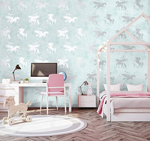 Iridescent Unicorns Teal/Silver Wallpaper | Holden Decor  (90950)