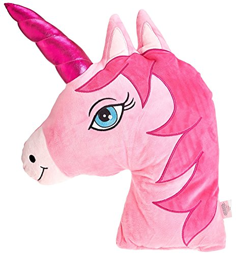 Eliza's® Pink Unicorn Horse Emoji Head Shaped Emoticon Soft Plush Pillow Filled Padded Stuffed Cushion Bedding
