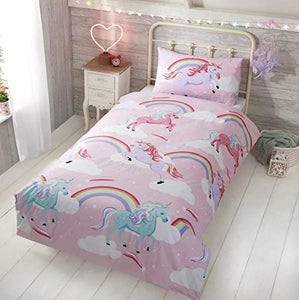 Little Unicorn Single Duvet Quilt Cover Bedding Set | 135 x 200cm | Pink