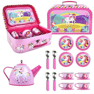 SOKA® Unicorn Metal Tea Set & Carry Case Toy For Kids | 18 Pcs | Children Role Play
