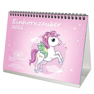 Unicorn Magic A5 Desk Calendar 2021 | Gift Set Contents: 1x Calendar, 1x Christmas and 1x Greeting Card (Total 3 Parts)
