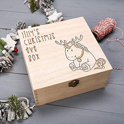 Personalised Wooden Unicorn Christmas Eve Box