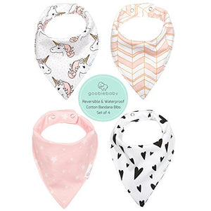 Reversible & Waterproof Cotton Baby Bandana Drool Bibs for Girls, Pack of 4 (Unicorn)