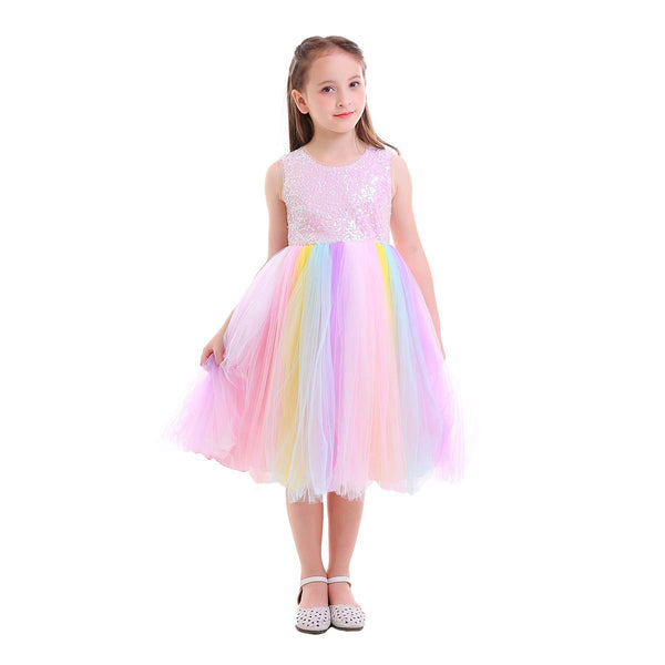 Unicorn Lace Dress - Girls Bridesmaid Flower Dress Sequinned Formal Wedding Party