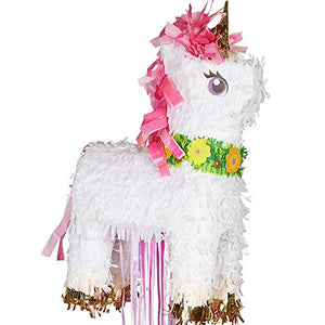 Magical Unicorn Deluxe Pull Pinata 32cm x 46cm - 1 Pc, Multicoloured