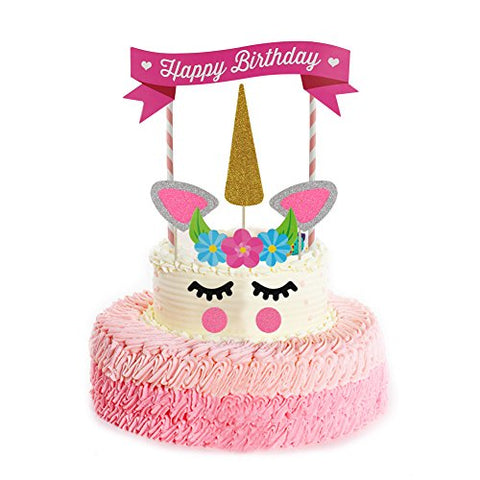 Rocita Unicorn Birthday Cake Topper Set of 11 Decor for Birthday Cake