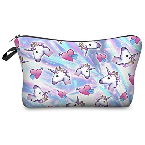 Emoji Unicorn and Hearts Make Up Bag