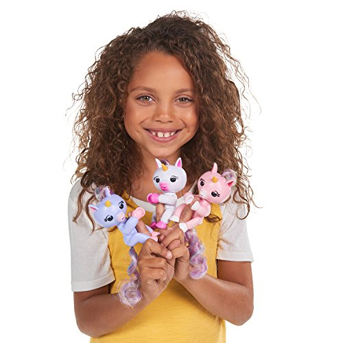 Fingerlings Baby Unicorn - Gigi (White with Rainbow Mane and Tail) - Friendly Interactive Toy by WowWee