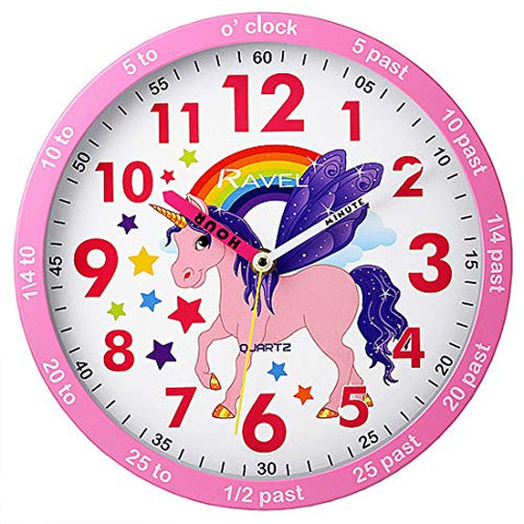 Children's Unicorn Rainbow Time Teacher Quartz Wall Clock | Ravel