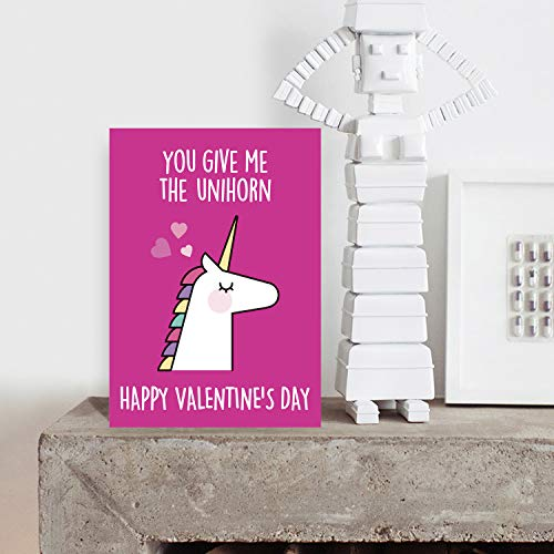 Funny Unicorn Valentines Day Card | Pink