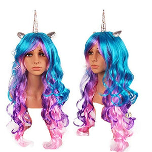 Unicorn Golden Horn Multicoloured Wig | Fancy Dress