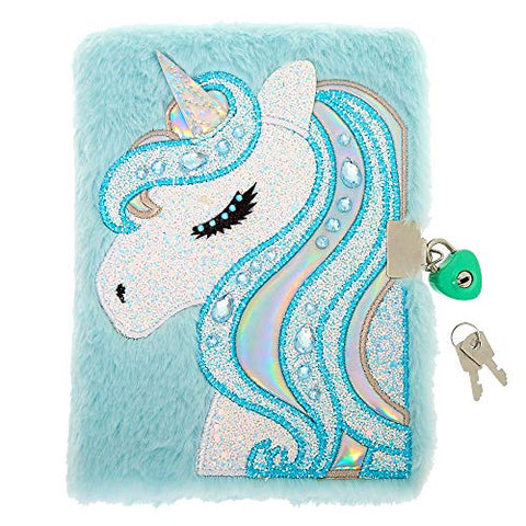 Mint Blue Unicorn Lockable Diary