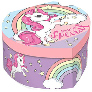 Unicorn Heart Musical Jewellery Box, Multicoloured, Pastel Colours