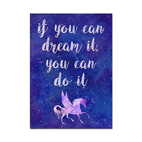 "Unicorn Poster Print Motivational Inspirational ""If You Can Dream It You Can Do It"" Gift Present Idea"