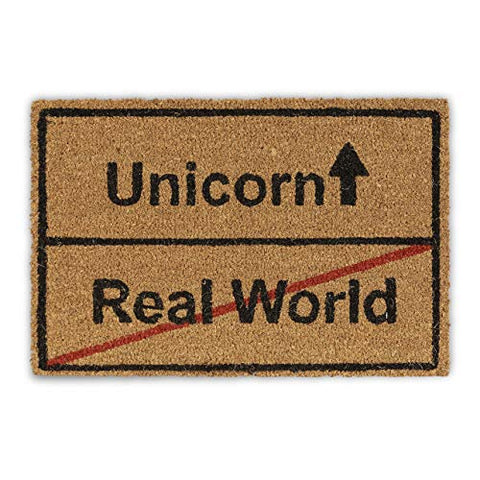 Relaxdays Coir Unicorn/Real World Doormat | Funny | Natural 40x60 cm