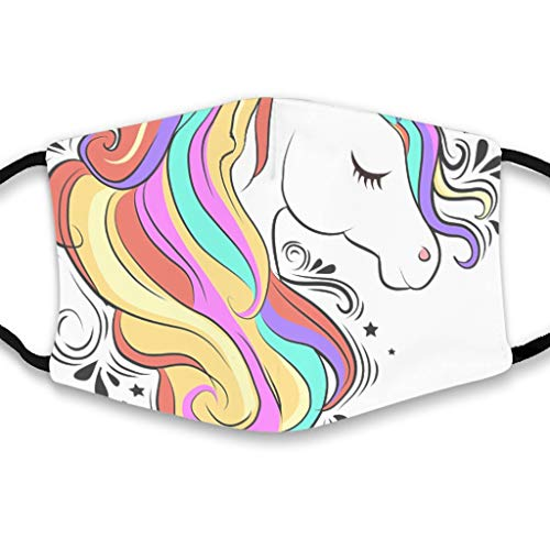 Youturnnow Unicorn Rainbow Face Protector with Ear Loops Washable Reusable Dust Cover for Dust -  White -  One Size
