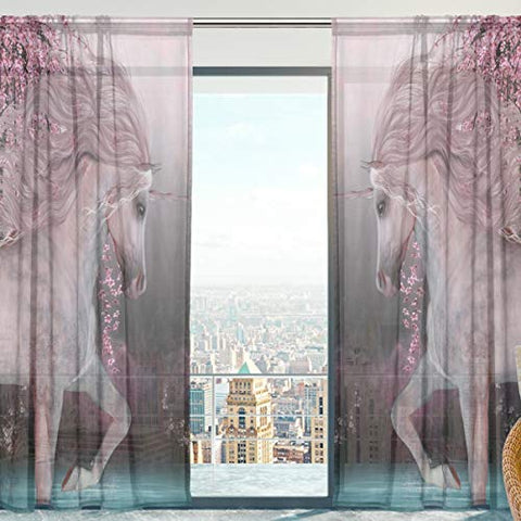 Sheer Voile Unicorn Curtains Cherry Blossom