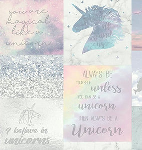 Unicorn quote dreamy wallpaper, girls bedroom, nursery, playroom. Pastel colours.