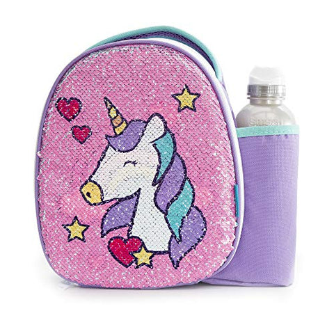 Smash Insulated Unicorn Lunch Bag & 500ml Bottle, Reversible Sequin Unicorn, 8.5cm x 25.5cm x 25cm