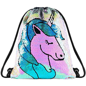 Sequin Unicorn Drawstring Bag PE/ Swimming Bag Kids