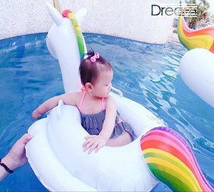 Unicorn Swim Ring Inflatable Kids Inflatable Unicorn Seat for Children Swim Ring Baby Inflatable Pool Float with Towing Rope Child Seat Inflatable Raft Pool Water Play Learn Swimming for Baby (A - Unicorn)
