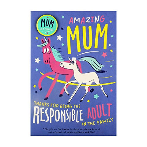 Mother's Day Card | For Mum | Neon Unicorn With Badge | Hallmark