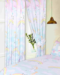 Unicorns Rainbows Clouds Sky, Pencil Pleat Curtains With Tie Backs