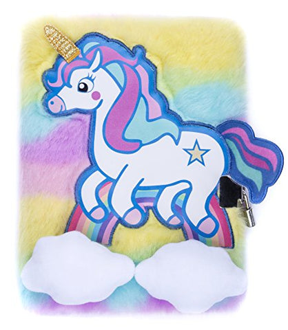 FRINGOO® Girls Boys Unicorn Rainbow Plush A5 Notebook Diary 3D with Padlock and Bookmark