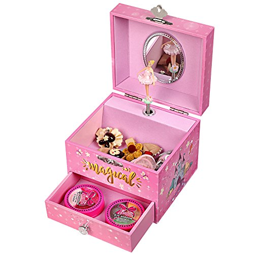 Pink ballerina unicorn jewellery box for girls