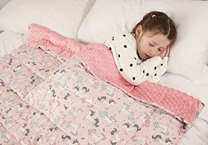 Unicorn Weighted Blanket For Children Autism Anxiety | 100% Cotton | Sleep Therapy | 100 x 155cm