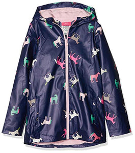 Joules Girls' Raindance Raincoat, Unicorn Design, Blue