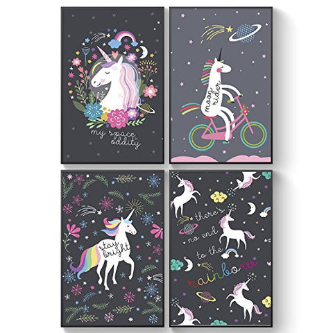 Galaxy Unicorns Posters | 4 Set For Girls | A3 Size