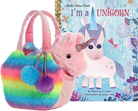 Unicorn toy in bag gift set with book