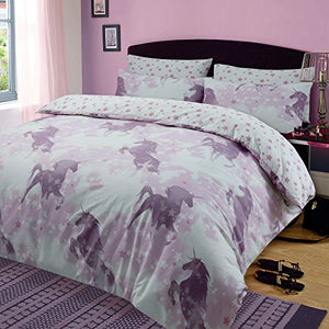 Dreamscene Unicorn Dreams Duvet Cover with Pillow Case Girls Bedding Set Mystical Stars Pink, King