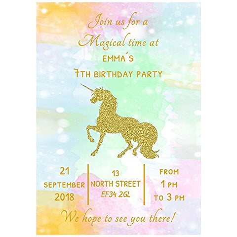 20 Personalised Gold Unicorn Birthday Party Invitations & Envelopes
