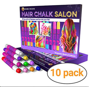 Hair Chalk Gift For Girls | 10 Temporary Washable Hair Dye Colourful | Unicorn Style