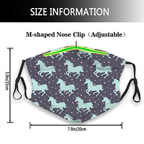 Cute Magic Unicorn With Twinkle Little Spot Stars And Dark Background Art Fashion Face Ma-sk Sun-Proof Fashion Bandana Headwear for Men and Women