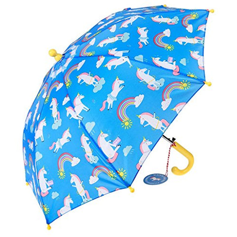 Magical Unicorn Children's Spring Loaded Umbrella - Blue