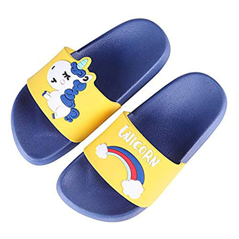 Ruiuzi Unicorn Slide Sandals Children Bath Slippers Anti-Slip Outdoor Beach Summer Slipper Shower Pool Shoes For Boys Girls (11/11.5 UK Child,Blue)