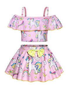 Pastel pink unicorn swimming costume kids