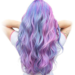 Lilac Unicorn Wig Ombre Long Curly Wavy Synthetic Hair | Fancy Dress Anime Cosplay Party